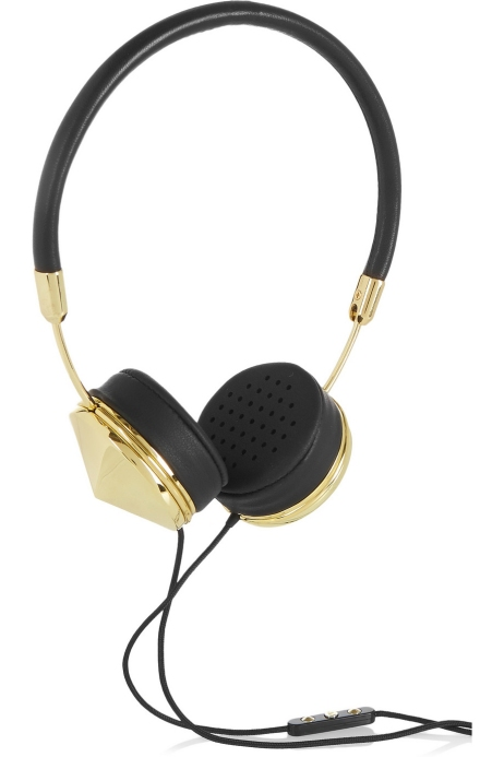Leather and gold-tone headphones. Frends, $230