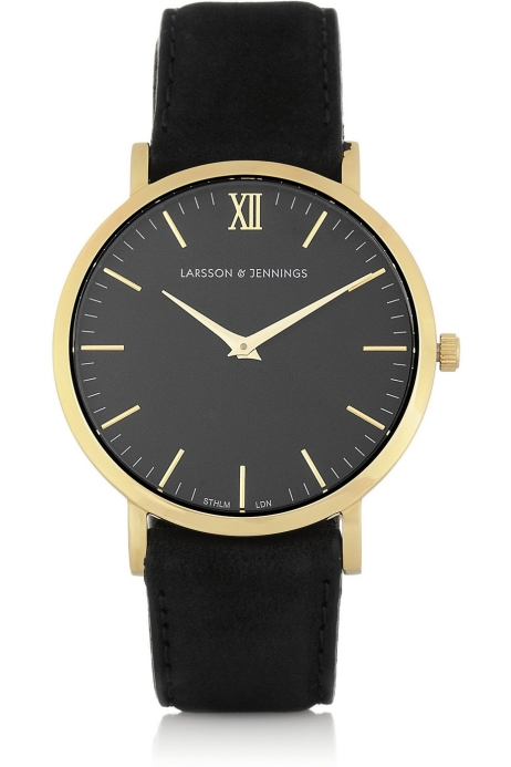A feminine suede and gold-plated watch. Larsson & Jennings $360