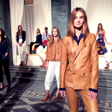 Camel leather blazer at Ralph Lauren's collection SS16 cocktail party presentation
