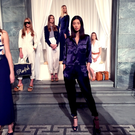 Blue silk jumpsuit at Ralph Lauren's collection SS16 cocktail party presentation