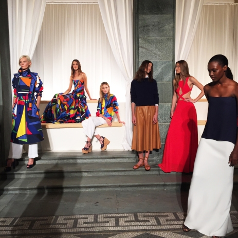 Models ensemble at Ralph Lauren's collection SS16 cocktail party presentation