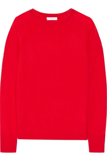 A cherry-red cashmere sweater. Equipment, $270