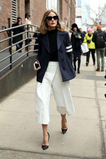 With culottes.