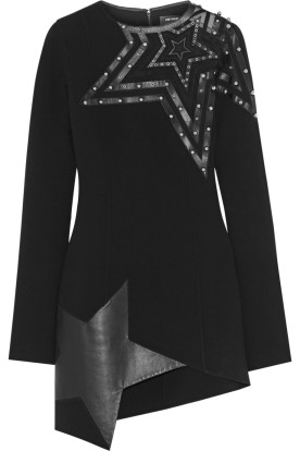 Leather and tulle-paneled crepe mini dress. Anthony Vaccarello, $2,540