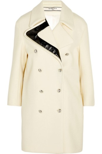 Wool and faux patent leather coat. Bouchra Jarrar, $2,620
