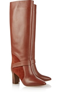Suede-paneled knee boots. Chloé, $1,195