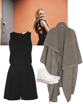 Jumpsuit. Milly, $375 Sneakers. Converse, $60 Cape. Stella McCartney, $2,675