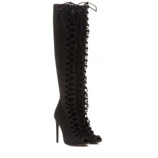 Knee-high peep-toe suede boots. Giambattista Valli, $1,417