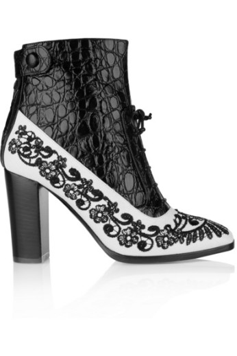 Embroidered croc-effect ankle boots. Nicholas Kirkwood + Erdem, $1,275