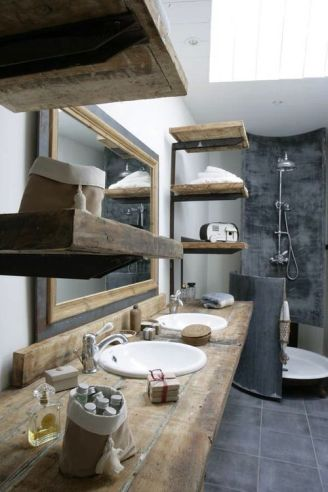 12. Using raw wood shelves will make your bathroom look more contemporary and sophisticated.