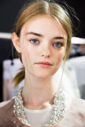 Natural low chignon at Rochas.