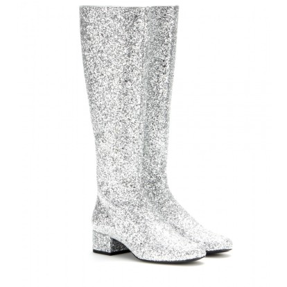 Glitter knee boots. Saint Laurent, $1,007