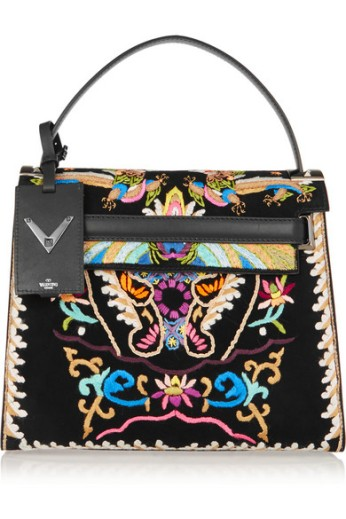 Embroidered suede and leather tote. Valentino, $4,245
