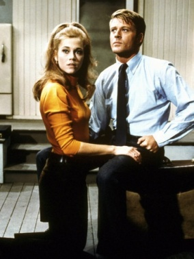 Jane Fonda aka Corie Bratter in a pumpkin orange turtleneck sweater and high ponytail. Barefoot In The Park, Gene Saks (1967)