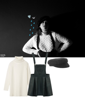 Skirt overalls. Black Five, $31,99 Sweater. Tory Burch, $208 Flat cap. Étoile Isabel Marant, $175