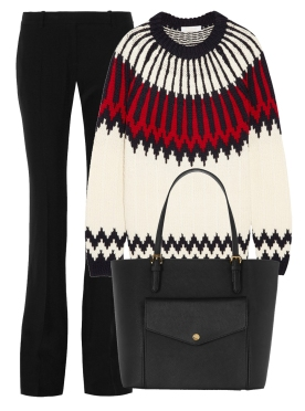Intarsia wool sweater. Chloé, $1,385 Crepe flared pants. Alexander McQueen, $745 Leather tote. Michael Michael Kors, $200