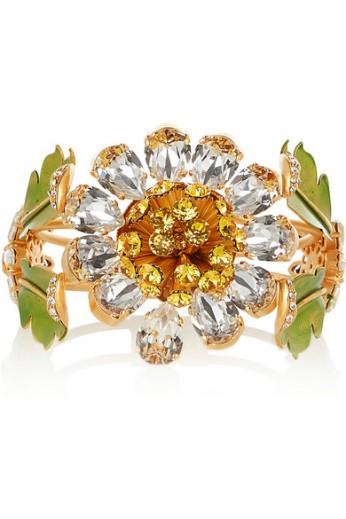 Gold-plated Swarovski crystal and enamel cuff. Dolce & Gabbana, $1,795