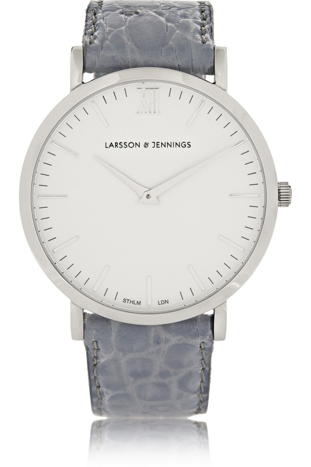 Croc-effect leather and silver-plated watch. Larsson & Jennings, $385 (on Net-a-Porter)