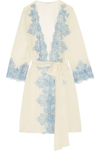 Lace-trimmed printed silk-georgette nightgown. Rosamario, $1,035