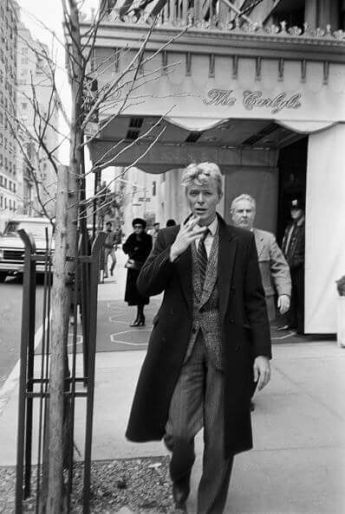 David Bowie outside of the Carlyle Hotel in New York, 1983