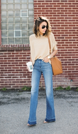 With a soft, neutral sweater. (Hello Fashion Blog)