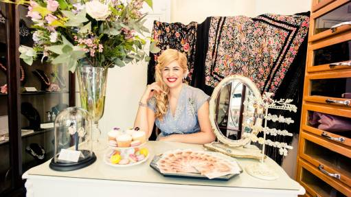 Natalie Leon in her boutique Passionate About Vintage