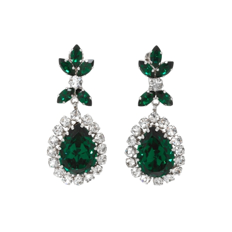 Schoffel emerald briolette drop earrings, £250 at Passionate About Vintage boutique in London