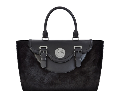 Happy Satchel liquorice black shearling mix, Hill and Friends FW 16-17