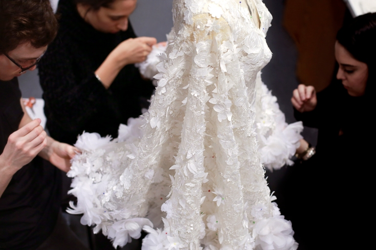 Backstage at Ralph & Russo SS 16 haute couture show in Paris